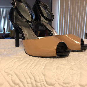 Style & Company Ankle Strap Peep-ToeTwo-Tone Heels
